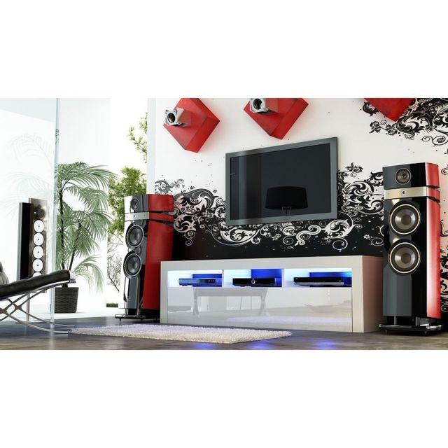 Mpc Meuble tv 160 cm blanc mat et façades laquées blanc avec Led