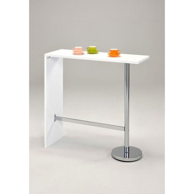 meubletmoi table haute de bar blanche kos pas cher achat vente bars rueducommerce. Black Bedroom Furniture Sets. Home Design Ideas