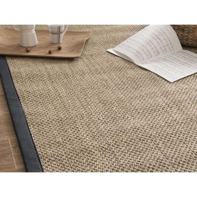 akhal tapis sisal fibres larges avec ganse en coton millstone anthracite 140x200cm - Tapis Sisal