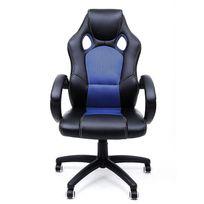 Rocambolesk - Superbe Fauteuil de bureau Chaise pour ordinateur Pu simili cuir 2 roulettes supplémentaires fournies bleu Obg56L neuf