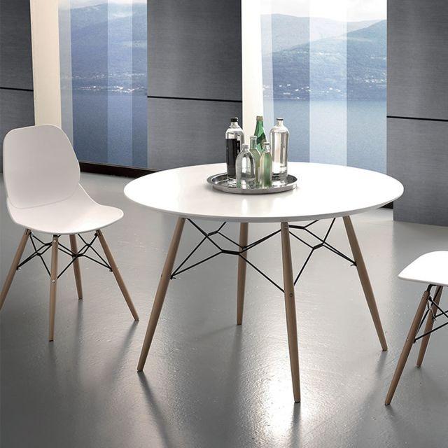 Nouvomeuble Table à manger ronde scandinave blanche et bois clair Ulrik