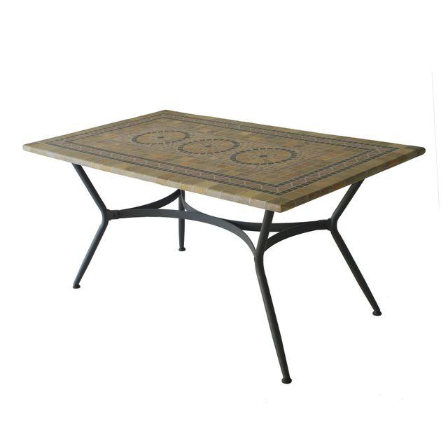 Alinéa - Agadir Table de jardin mosaïque en céramique et fer forgé 4 ...