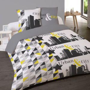 les douces nuits de ma housse couette 200x200 2 taies city pas cher achat vente housses. Black Bedroom Furniture Sets. Home Design Ideas