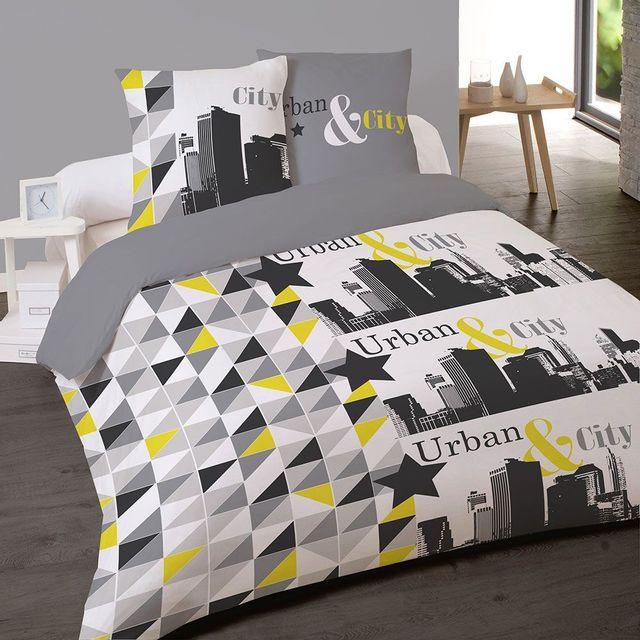 les douces nuits de ma housse couette 220x240 2 taies city blanc gris jaune 220cm x 240. Black Bedroom Furniture Sets. Home Design Ideas