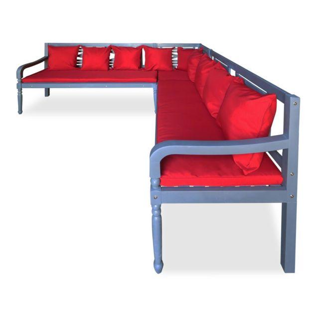 Icaverne - Ensembles de meubles d'extérieur ensemble Jeu de canapé d'angle d'extérieur 15 pcs Bois d'acacia massif