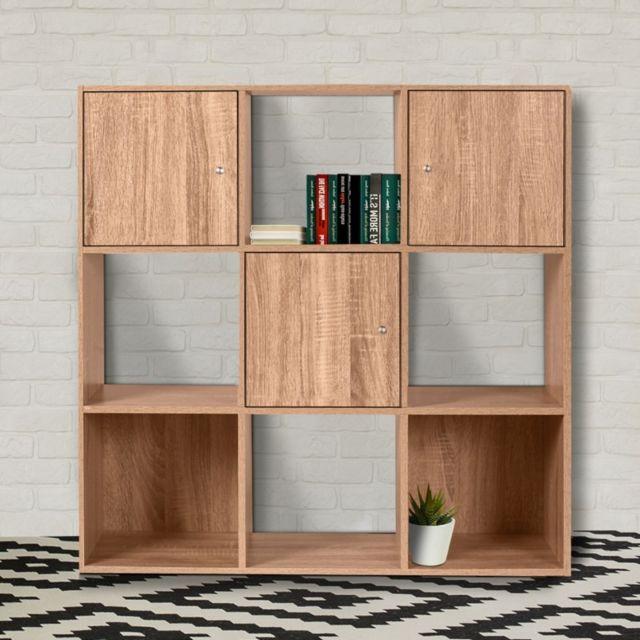 Idmarket meuble de rangement cube 9 cases bois fa on h tre avec 3 portes pas cher achat - Cube de rangement avec porte ...
