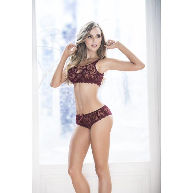 mapale ensemble de lingerie f minine dentelle b rouge pas cher achat vente ensembles de. Black Bedroom Furniture Sets. Home Design Ideas