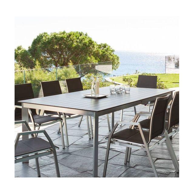 HESPERIDE Table fixe Ambrosio 8 personnes anthracite Hespéride
