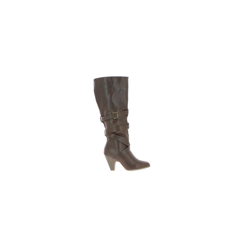 dae370e7715 CHAUSSMOI- Bottes femme marrons à talons de 8 cm