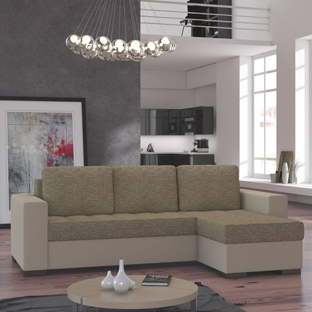 KASALINEA Canapé d'angle convertible beige ADRIANO