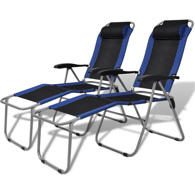 Vidaxl Chaise inclinable de camping 2 pcs bleu et noir