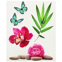 Promobo - Planche Lot 5 Stickers Deco Zen Galets Fleur Rose Papillon