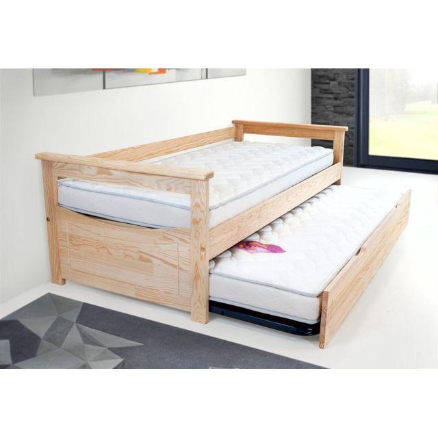 abc meubles lit gigogne topaze 80x190 pin massif made in france vernis naturel 80cm x 190cm. Black Bedroom Furniture Sets. Home Design Ideas