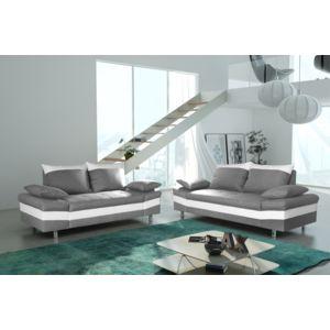 Modern Sofa Canapé bacau 3 2 gris clair simili cuir blanc Achat
