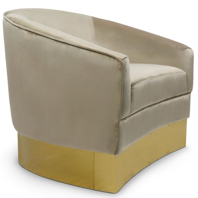 MENZZO Fauteuil Curva Velours Taupe Pieds Or
