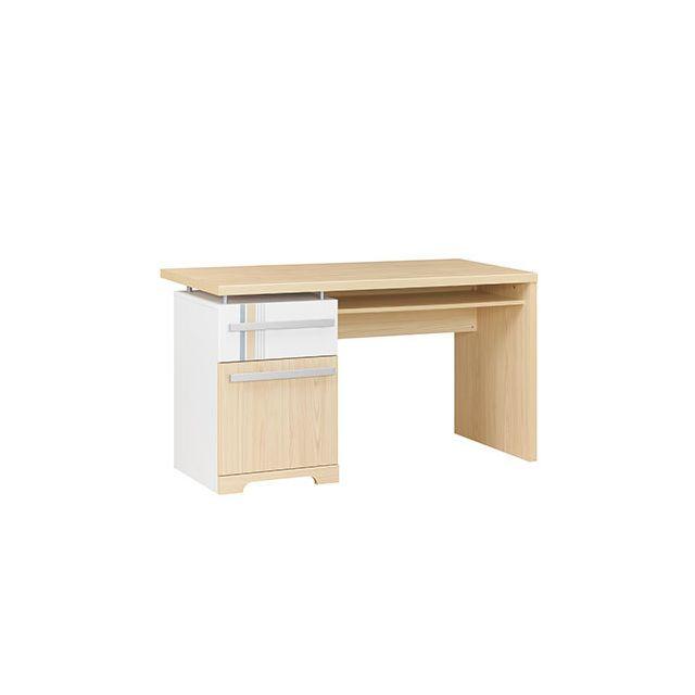 Bureau 1 porte 1 tiroir naturel et blanc - Evan