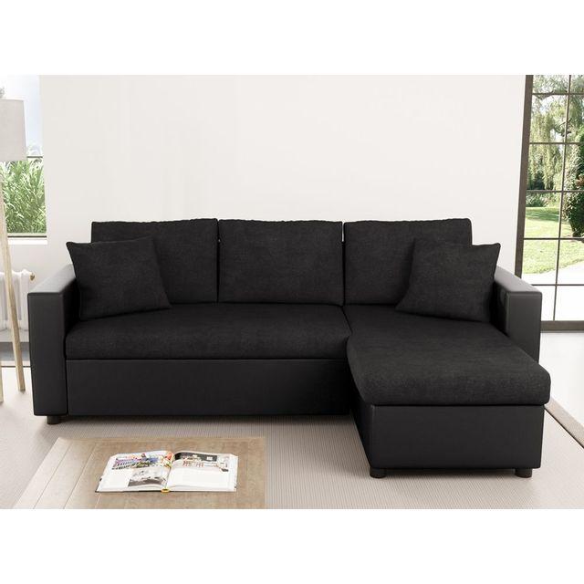 usinestreet canap d 39 angle maria r versible et convertible avec coffre noir 146cm x 223cm x 82. Black Bedroom Furniture Sets. Home Design Ideas