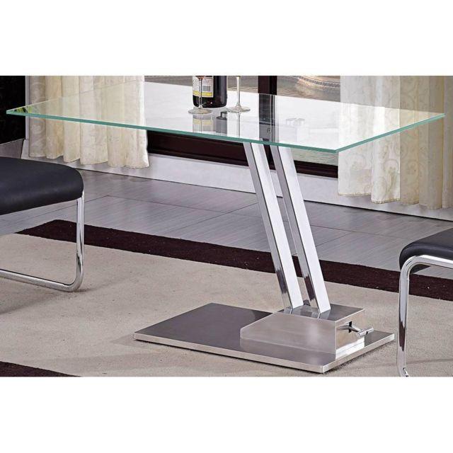Inside 75 Table basse relevable Step en verre transparente structure chromée