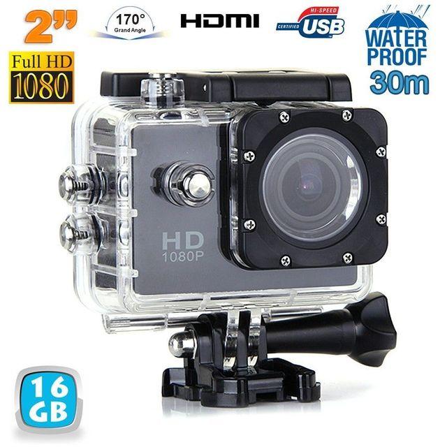 Yonis Caméra sport étanche 30m 2'' Hd 1080p grand angle 170° noir 16 Go