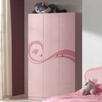 Autre - Armoire 3 portes 120 x 57.60 x 200 cm coloris rose