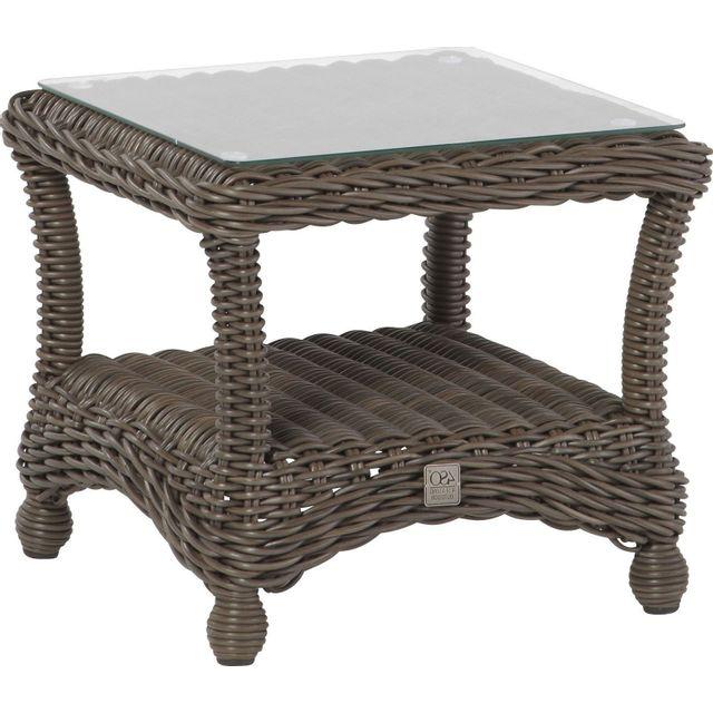 Comforium Table de jardin 50x50 cm en résine tressée coloris brun + vitre incluse