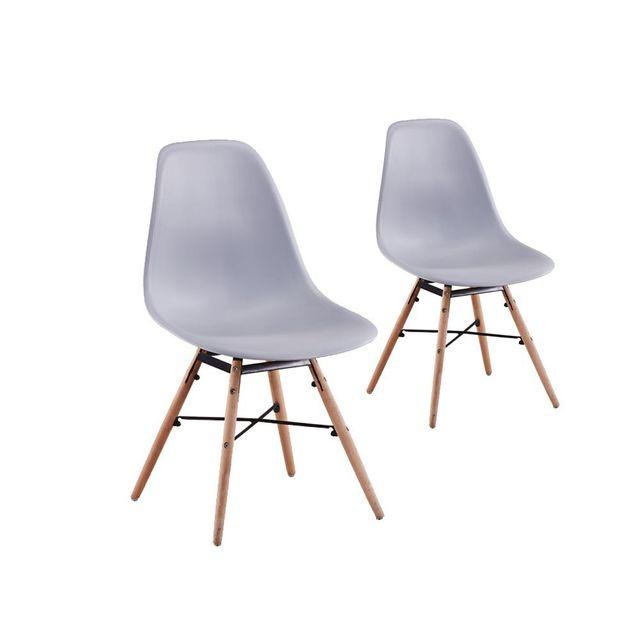 USINESTREET - Lot de 2 Chaises scandinaves LUNA Coque plastique et pieds bois - Couleur - Gris