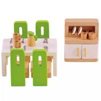 Hape - Meubles de salle à manger pour maison de poupée E3454