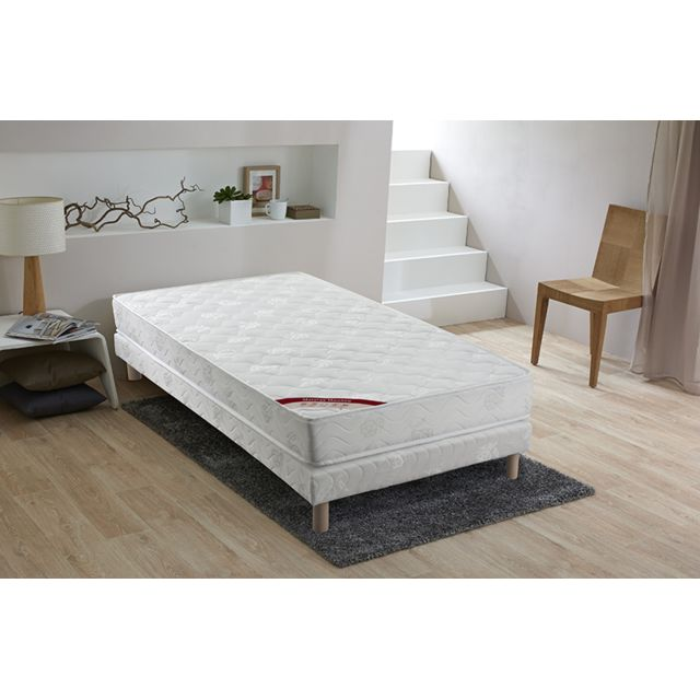 lovea ensemble matelas mousse sommier bois massif 90x190 sirius blanc pas cher achat. Black Bedroom Furniture Sets. Home Design Ideas