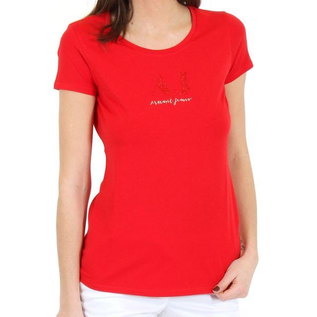 Courtes Armani Jeans Tee Manches Shirt Femme Rouge Ea7 RSL35j4Aqc