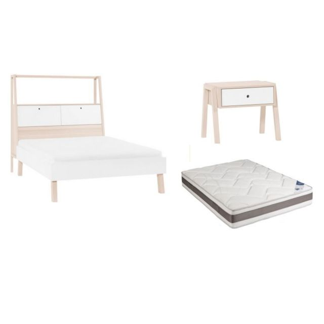 Vox Lit Adulte Avec Rangements Spot X Avec Matelas Et - Lit avec tete de lit rangement 160x200