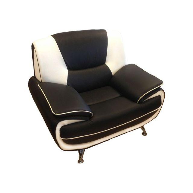 Meublesline Fauteuil moderne et design Meros simili cuir noir et blanc
