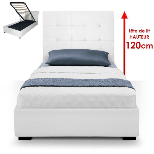 menzzo lit coffre trevene sommier 90cm blanc pas cher achat vente lit enfant rueducommerce. Black Bedroom Furniture Sets. Home Design Ideas