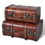 Rocambolesk Superbe Coffre au trésor en bois brun 2 Pcs Neuf