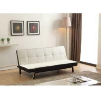 MARQUE GENERIQUE - Canapé clic-clac en simili DONIA - blanc et passepoil noir