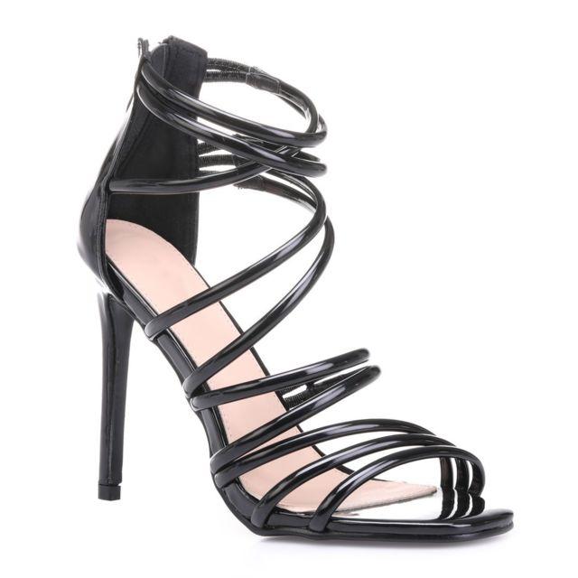 Sandales noires à talon aiguille et empiècements résille