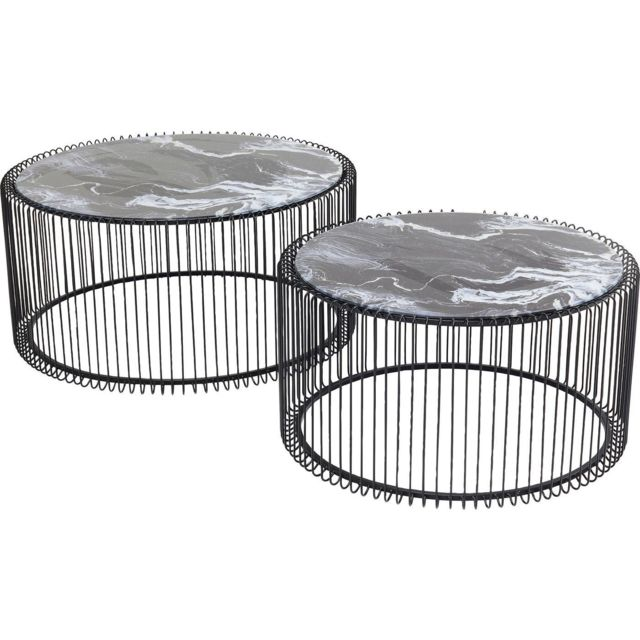 Karedesign Tables basses rondes Wire noires effet marbre set de 2 Kare Design