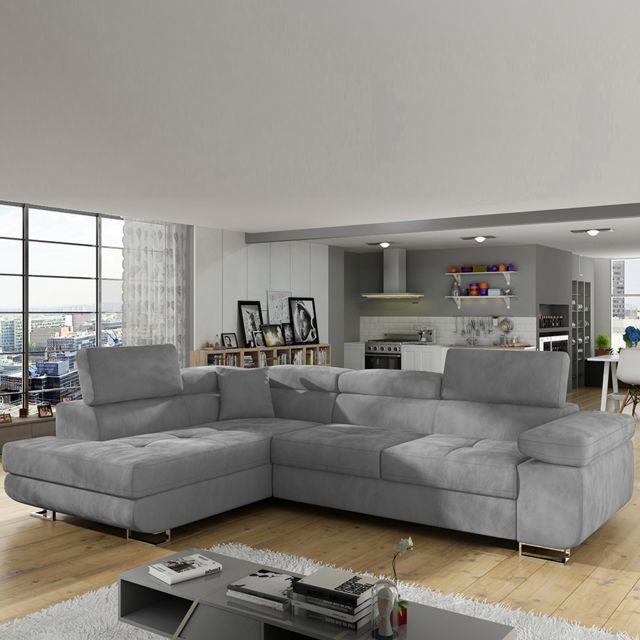 Sofamobili Canapé convertible en tissu gris angle à gauche Scott