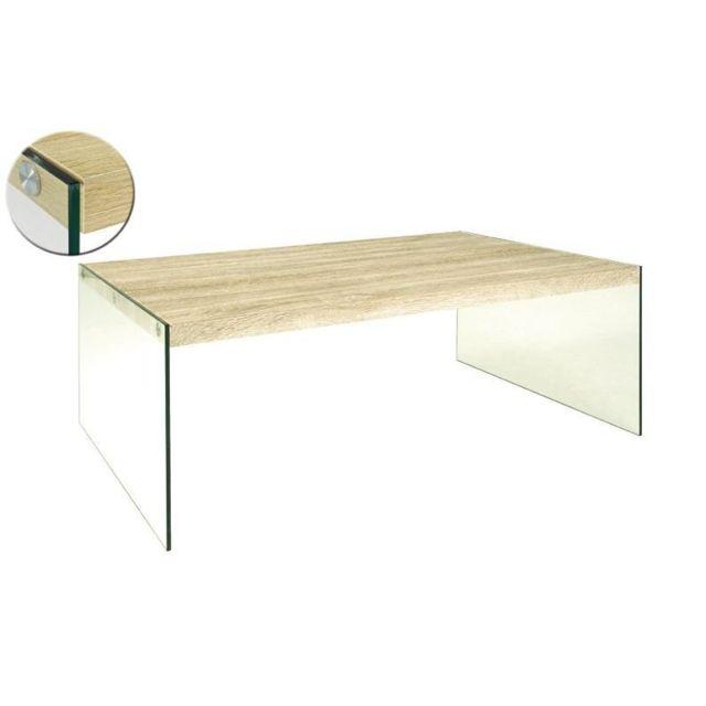 Inside 75 Table basse Nina 110 x 70 cm en verre et chêne clair