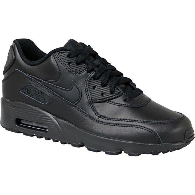 7e4cd7e26f4e8 Nike - Air Max 90 Lea Gs 833412-001 Noir - pas cher Achat   Vente Baskets  enfant - RueDuCommerce
