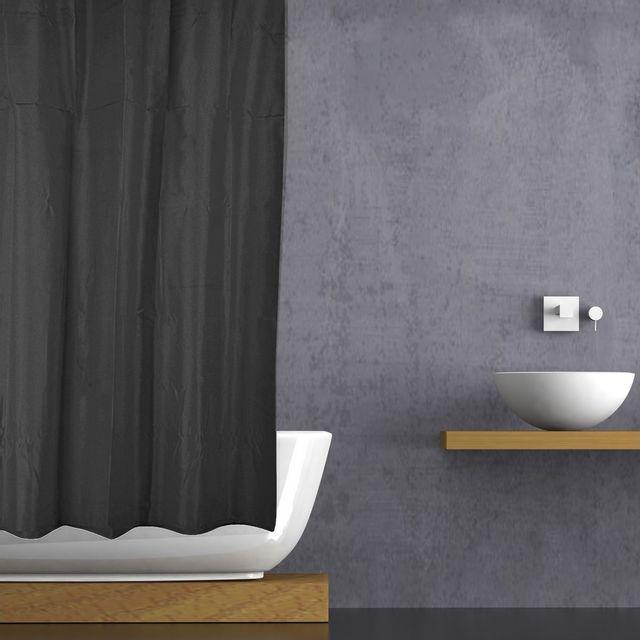 promobo rideau de douche baignoire uni soft peva 180 x 200cm noir pas cher achat vente. Black Bedroom Furniture Sets. Home Design Ideas