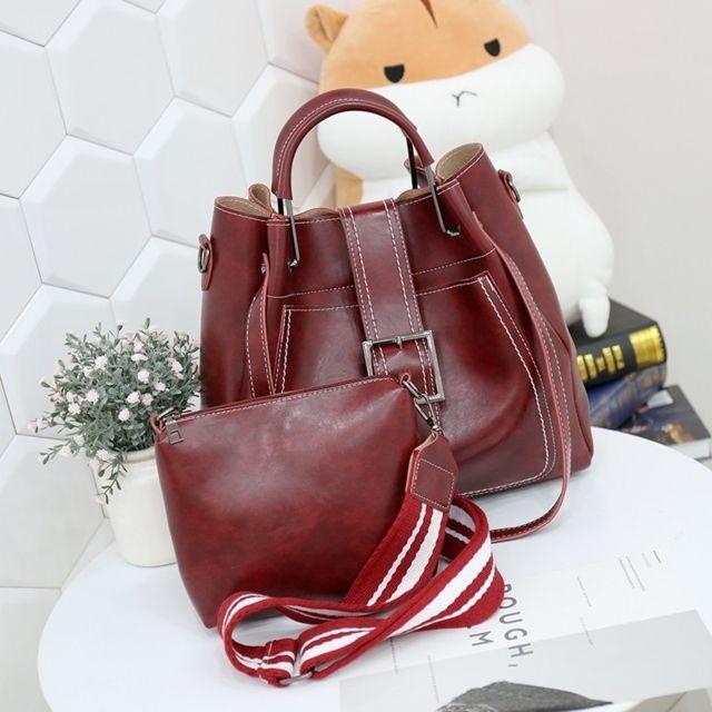 Sac porté épaule 3 en 1 boucle de ceinture cuir Pu à bandoulière pour femme à main Messenger Bag Rouge
