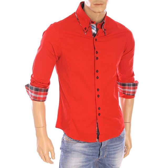 0d633b741b9c Damon - Carisma - Chemise slim fit stretch rouge homme manches longues H-110