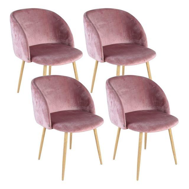 zons ypos lot 4 chaises salle a manger en velours rose pas cher achat vente. Black Bedroom Furniture Sets. Home Design Ideas