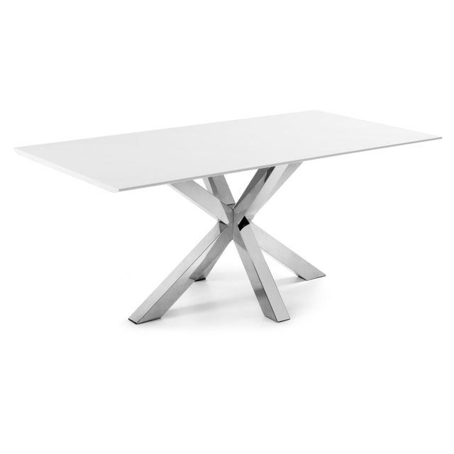 Kavehome Table Argo 200x100 cm, inox et blanc