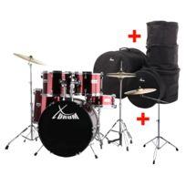 """Xdrum - Semi 20"""" batterie studio rouge Xl Set incl. pied perche cymbale + cymbales crash et housses"""