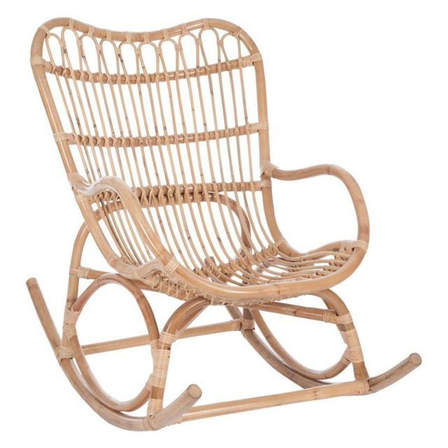 Tousmesmeubles Rocking Chair Rotin naturel - Ricky - L 110 x l 66 x H 93