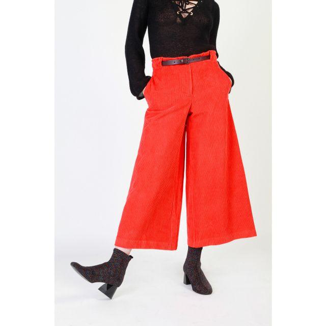 5ae084b759450 Buzzao - Pantalon taille haute en velours côtelé avec ceinture rouge femme  - Dixie