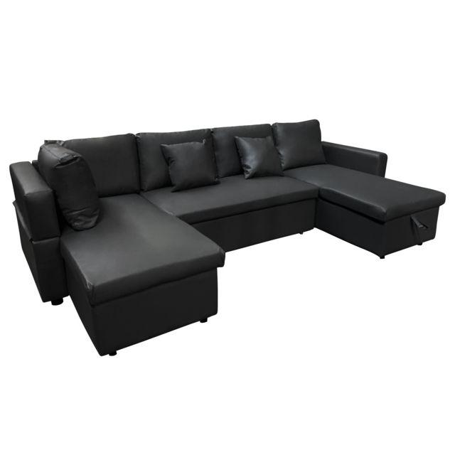 HAPPY GARDEN Canapé panoramique convertible simili cuir SCOTT 4 places noir
