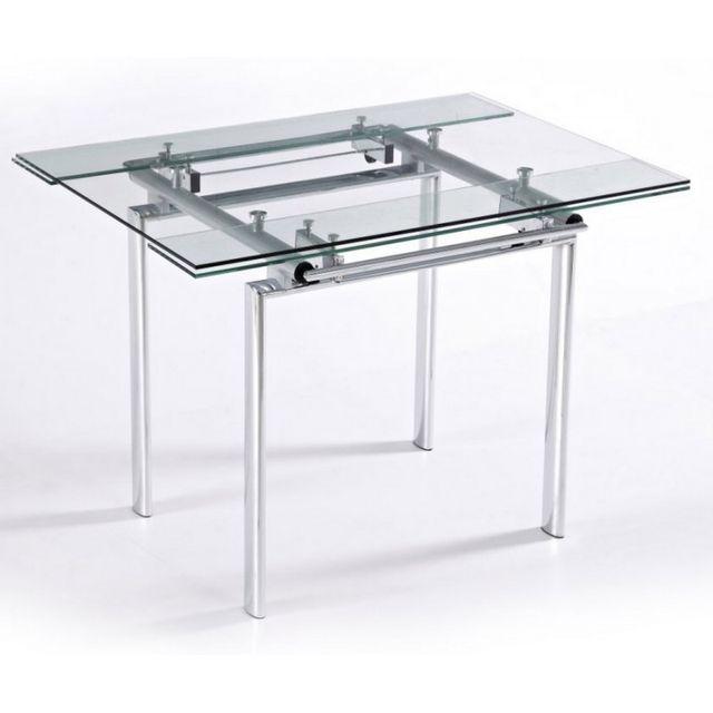 beaux meubles pas chers table haute de cuisine carr e plateau verre 135 cm pas cher achat. Black Bedroom Furniture Sets. Home Design Ideas