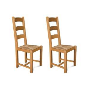 hellin lot de 2 chaises en ch ne clair la bresse assise paille bois fonc pas cher achat. Black Bedroom Furniture Sets. Home Design Ideas